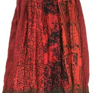 Chicos Red Black Intricate Beaded Silk Skirt Sz 1